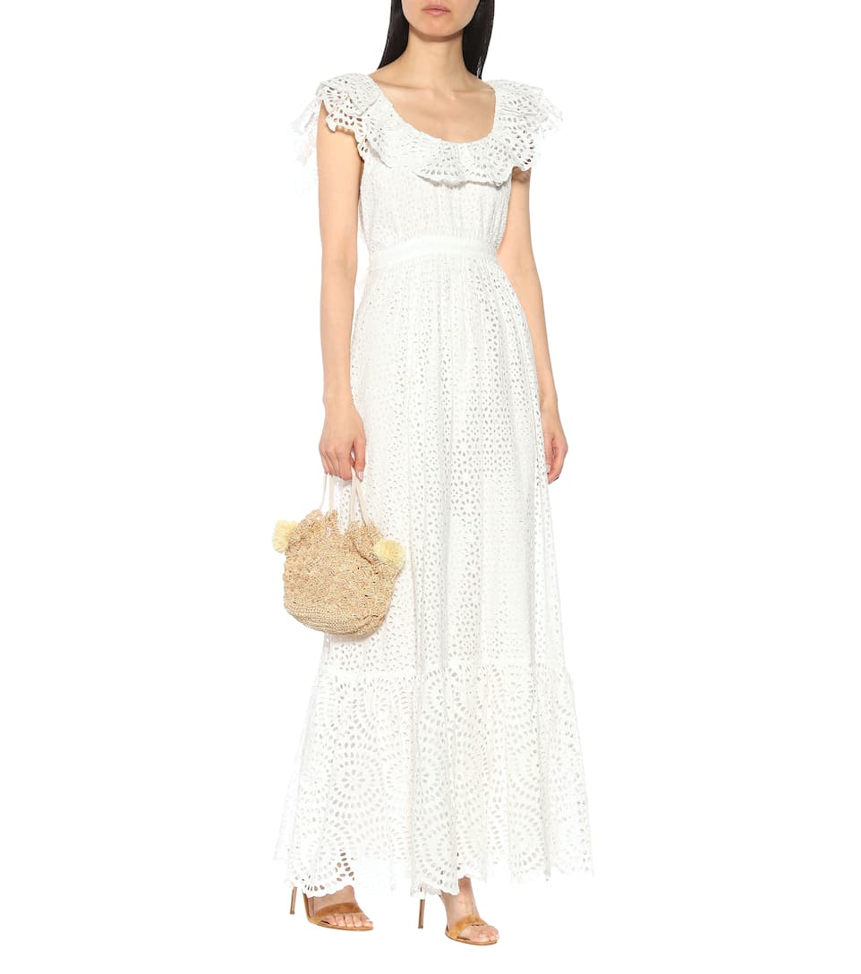 ULLA JOHNSON Desiree Eyelet Cotton Maxi White Dress