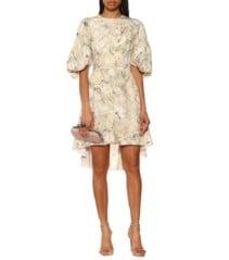 ALEXANDER MCQUEEN Floral Silk Mini Ivory Dress