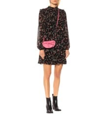 GANNI Floral Crêpe Mini Black Dress