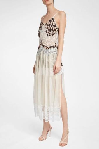 PACO RABANNE Lace Animal Print Slip Dress