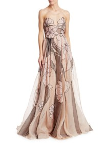 PAMELLA ROLAND Silk Organza Beaded Floral Strapless Nude Gown
