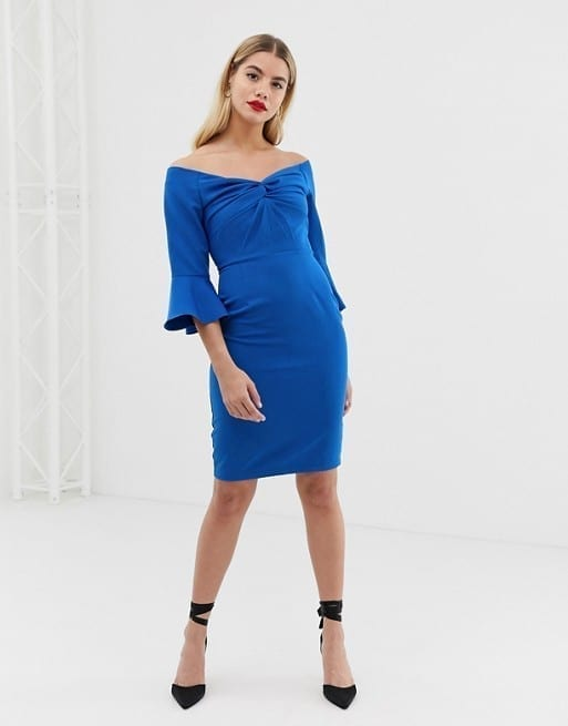 PAPER DOLLS Sweetheart with Knot Front Midi Bodycon Cobalt Dress