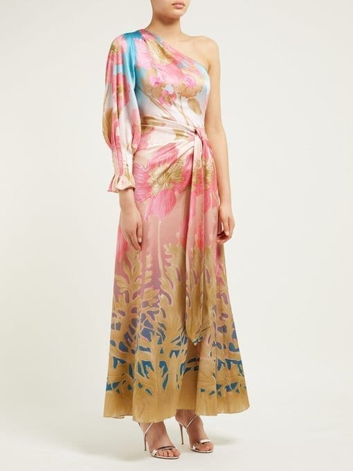 PETER PILOTTO Floral-Print One-Shoulder Silk-Blend Midi Dress