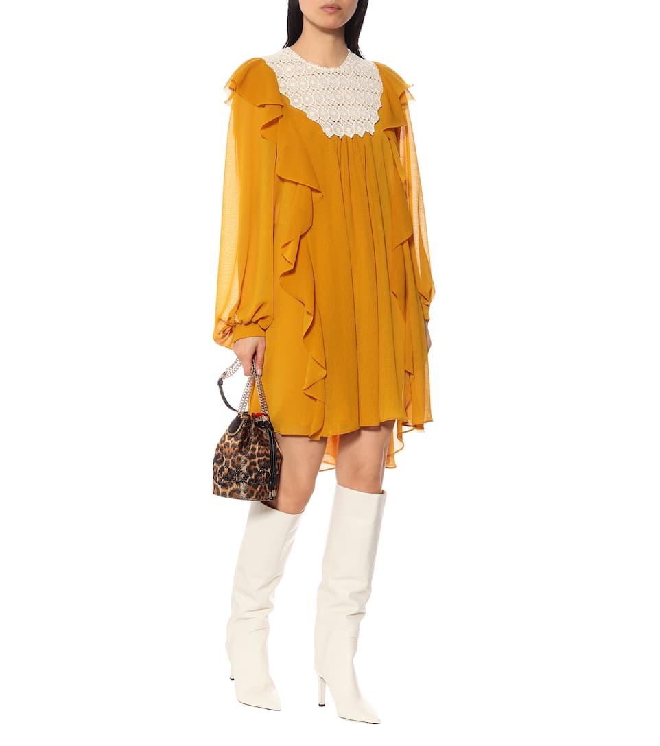 PHILOSOPHY DI LORENZO SERAFINI Double Crêpe Ruffled Orange Dress