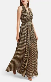 PHILOSOPHY DI LORENZO SERAFINI Striped Lamé Halter Gown