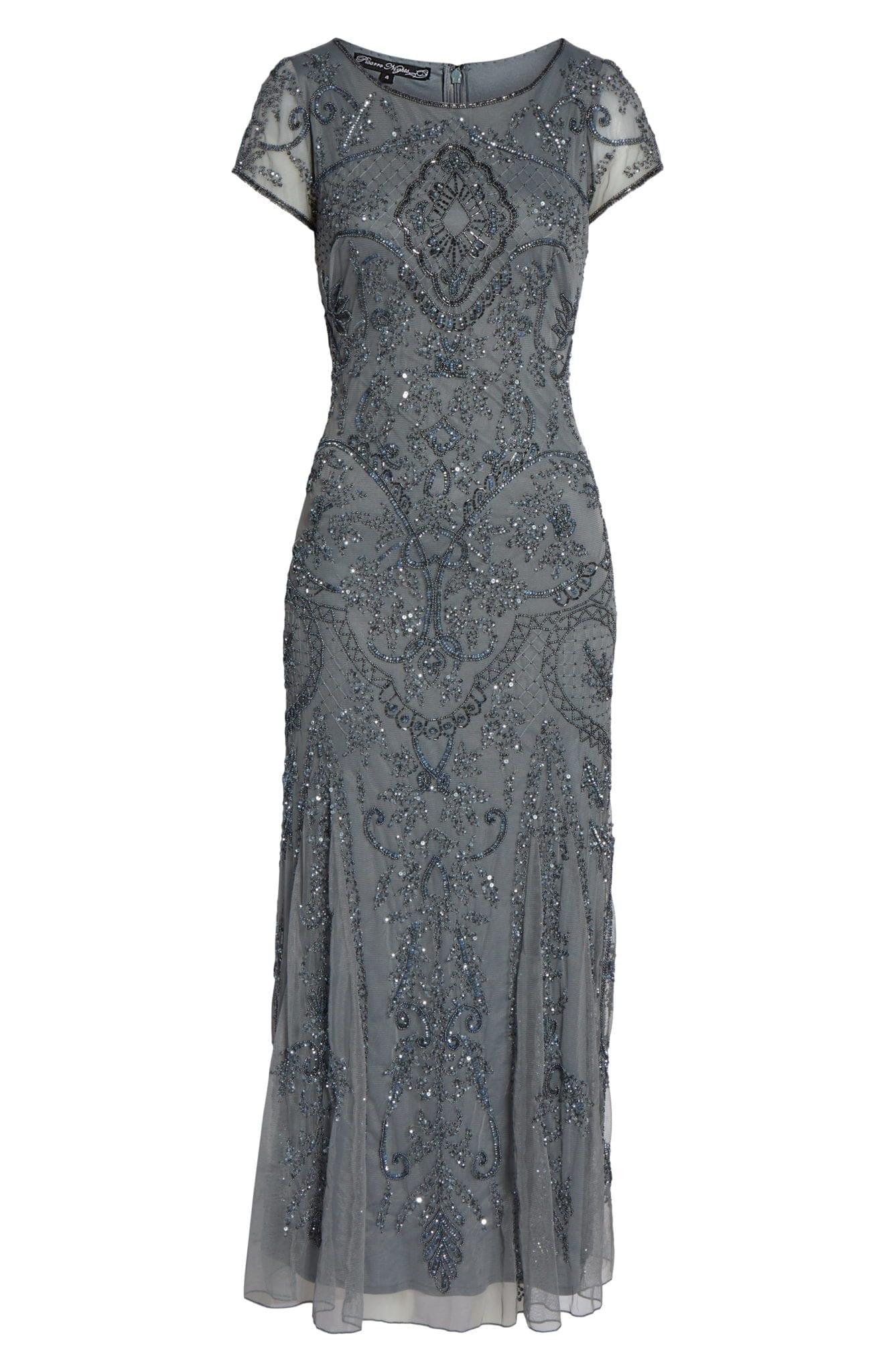 PISARRO NIGHTS Embellished Mesh Grey Gown