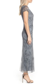 PISARRO NIGHTS Embellished Mesh Grey Gown