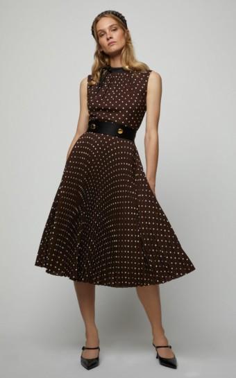 PRADA Button-Detailed Polka-Dot Crepe De Chine Midi Brown Dress