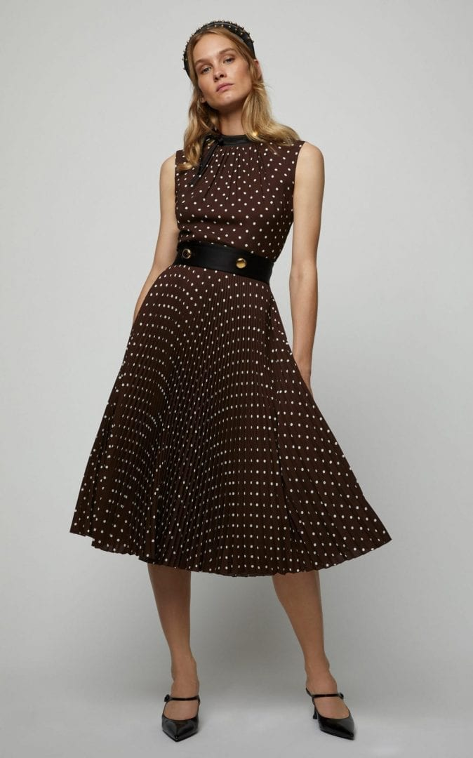 PRADA Button-Detailed Polka-Dot Crepe De Chine Midi Brown Dress
