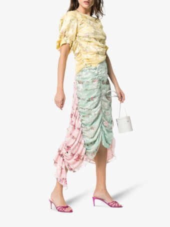 PREEN BY THORNTON BREGAZZI Javine Floral Ruched Silk Blend Patchwork Multicolored Dress