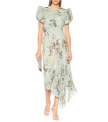 PREEN BY THORNTON BREGAZZI Tessa Pleated Georgette Blue / Floral Printed Dress