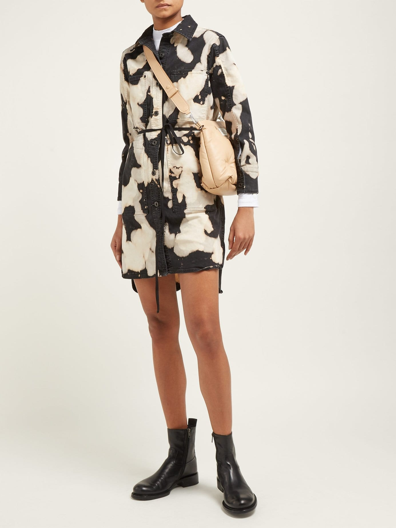 PROENZA SCHOULER PSWL Tie-dye-effect Denim Shirt Black Dress