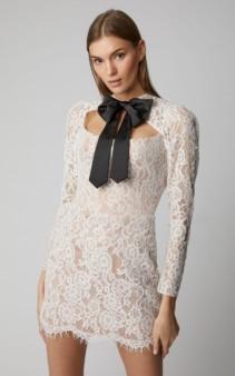 RASARIO Tie-Neck Lace Mini White Dress