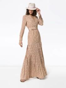 REBECCA DE RAVENEL Daisy Print Silk Maxi Multicoloured Dress