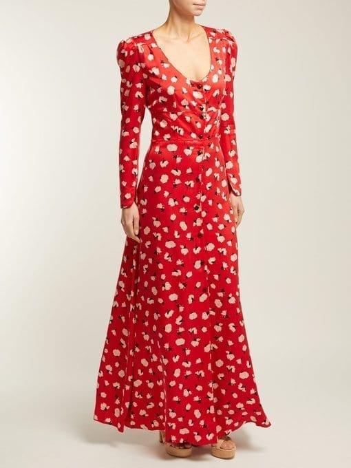 REBECCA DE RAVENEL Floral-Print Silk Maxi Red Dress