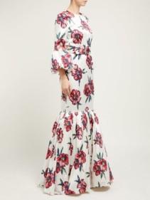 REBECCA DE RAVENEL Patio Floral-Print Silk-Charmeuse Fishtail White Gown