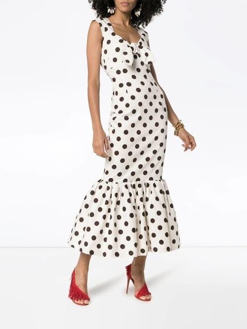 REBECCA DE RAVENEL Polka Dot Bow Detail Maxi Dress