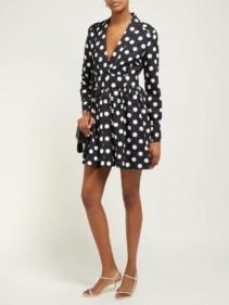 REBECCA DE RAVENEL Polka-Dot Cotton-Blend Black Dress