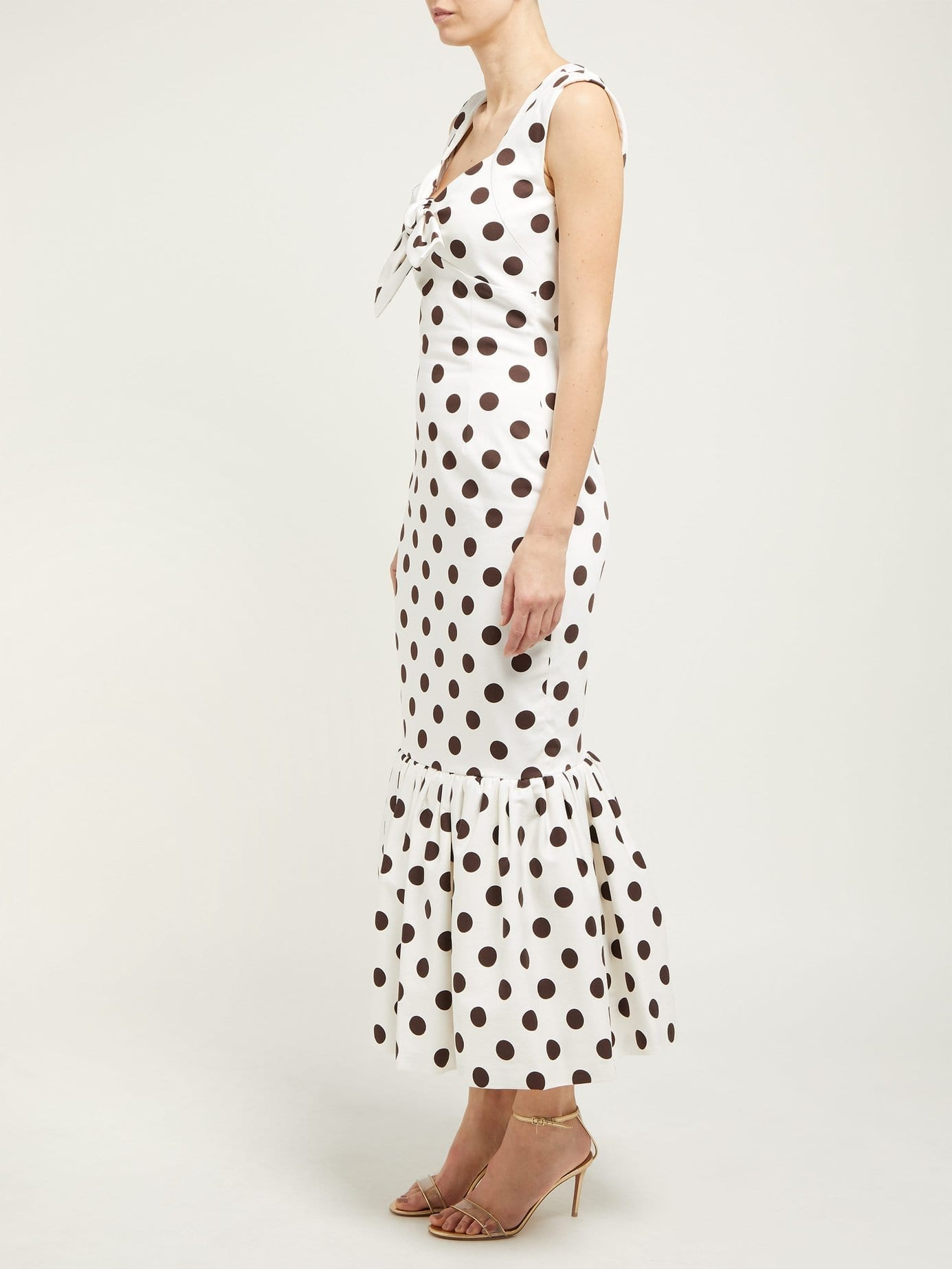 REBECCA DE RAVENEL Polka Dot-Print Cotton-Poplin Midi White Dress