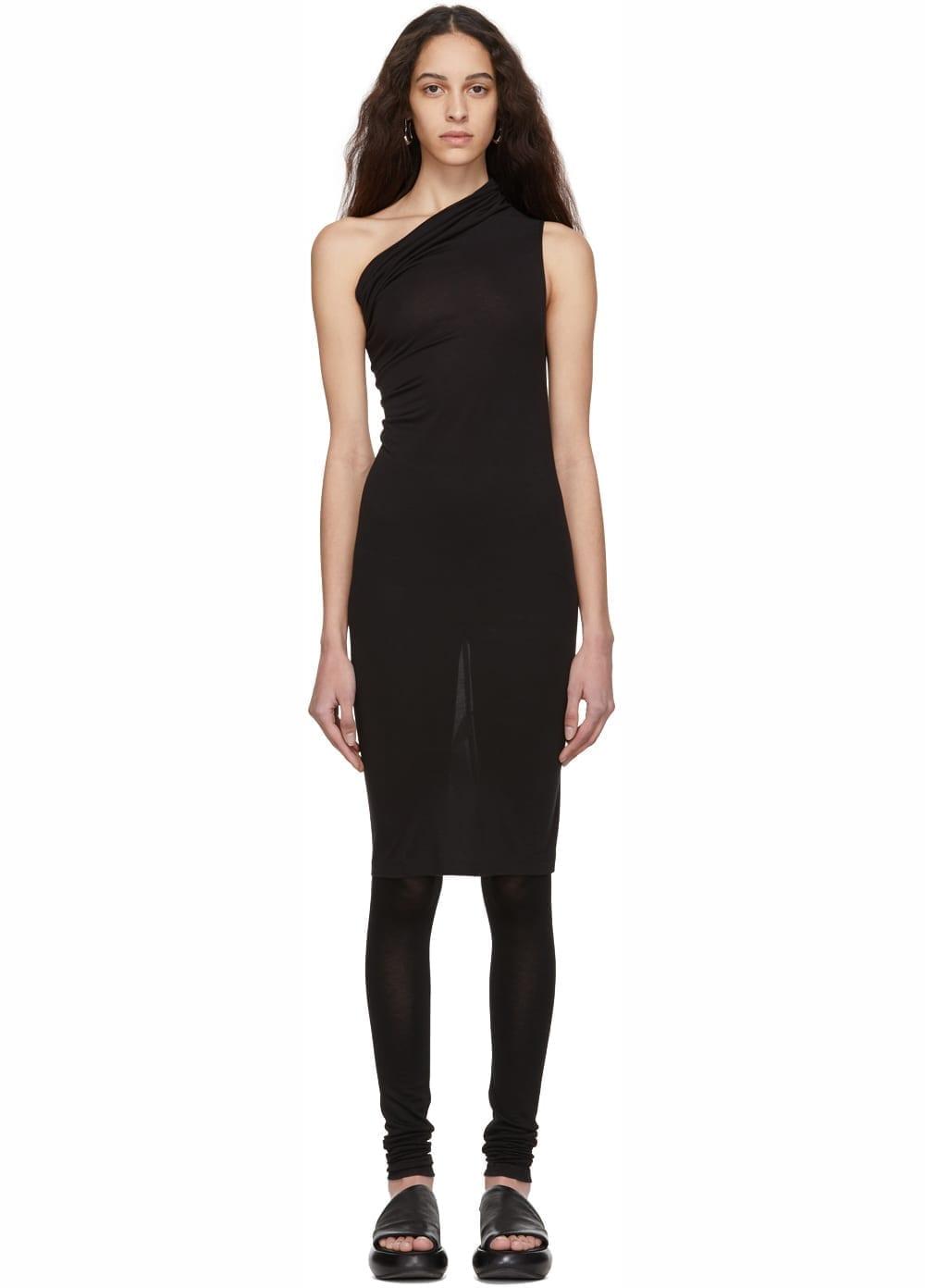 RICK OWENS LILIES Heavy Jersey Single Shoulder Black Dress