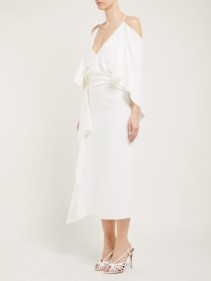 ROLAND MOURET Vincent Draped Crepe Midi Ivory Dress