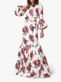 REBECCA DE RAVENEL Floral Bell Sleeved Floor Length Patio Floral Dress