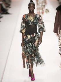 FENDI Floral-Embroidered Tulle Overlay Silk Black Gown