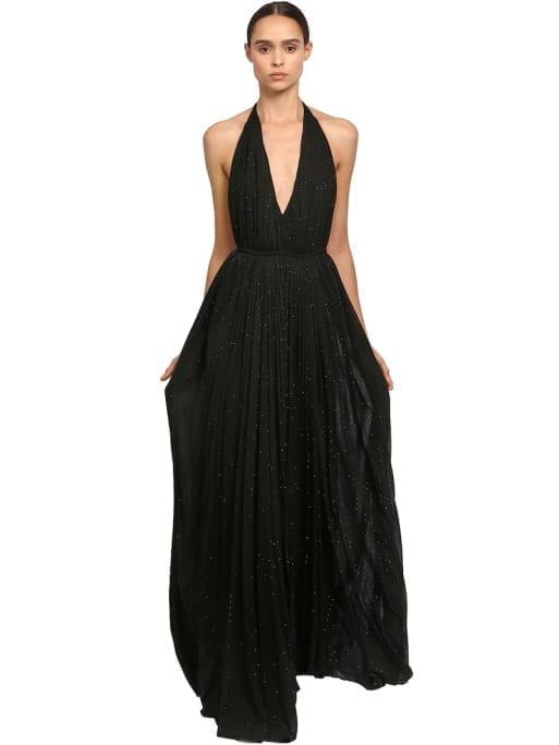 SAINT LAURENT Crystal Embellished Jersey Long Black Dress