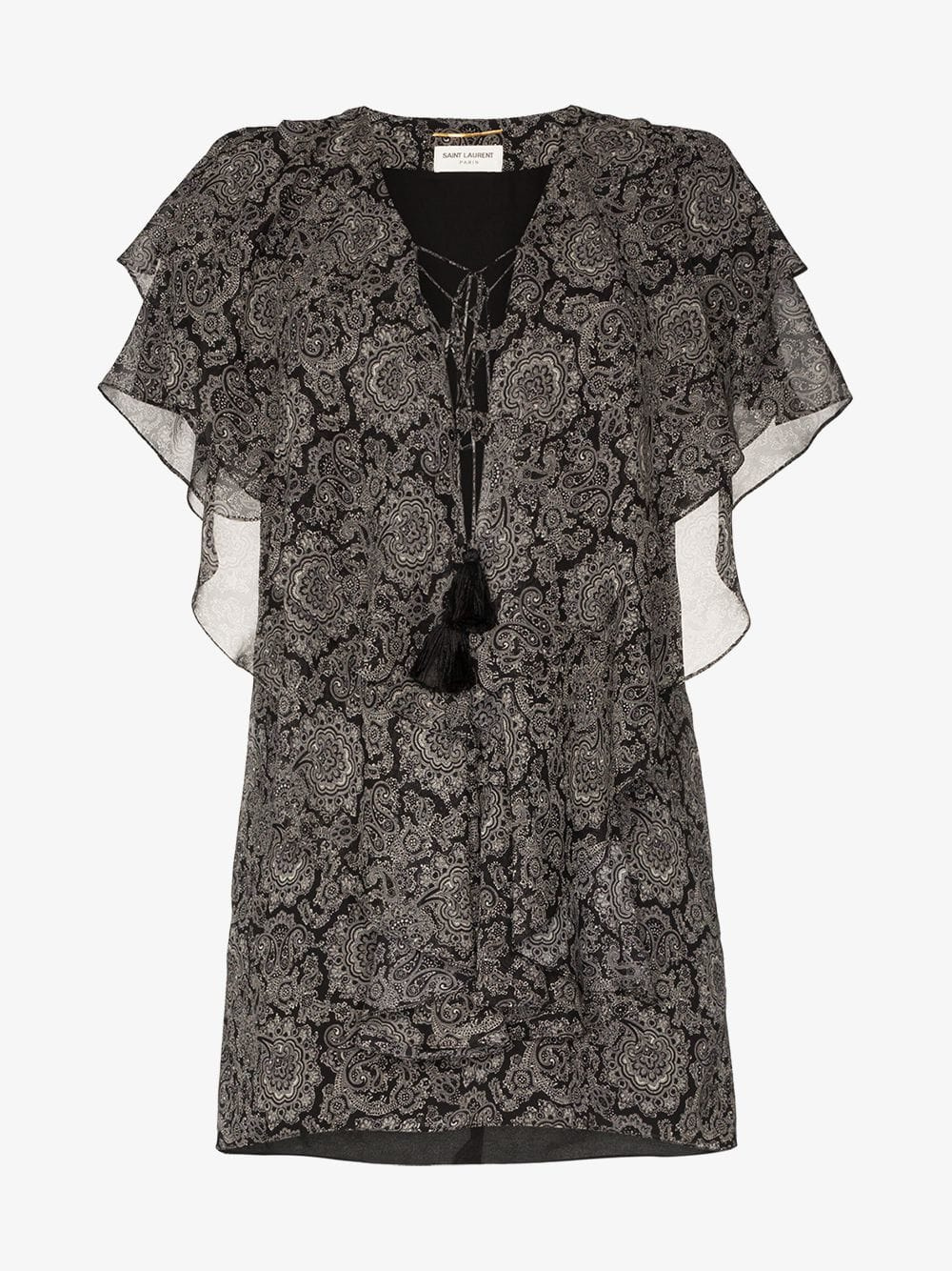 SAINT LAURENT Paisley Print Ruffle Silk Mini Black Dress