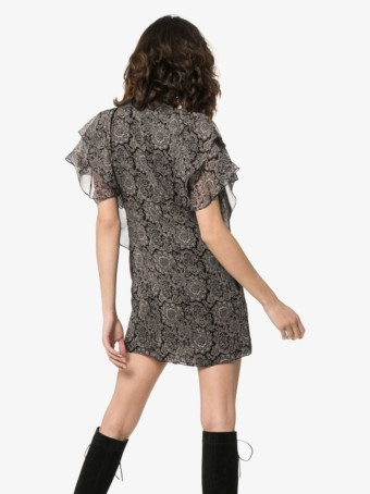 SAINT LAURENT Paisley Print Ruffle Silk Mini Black Dress
