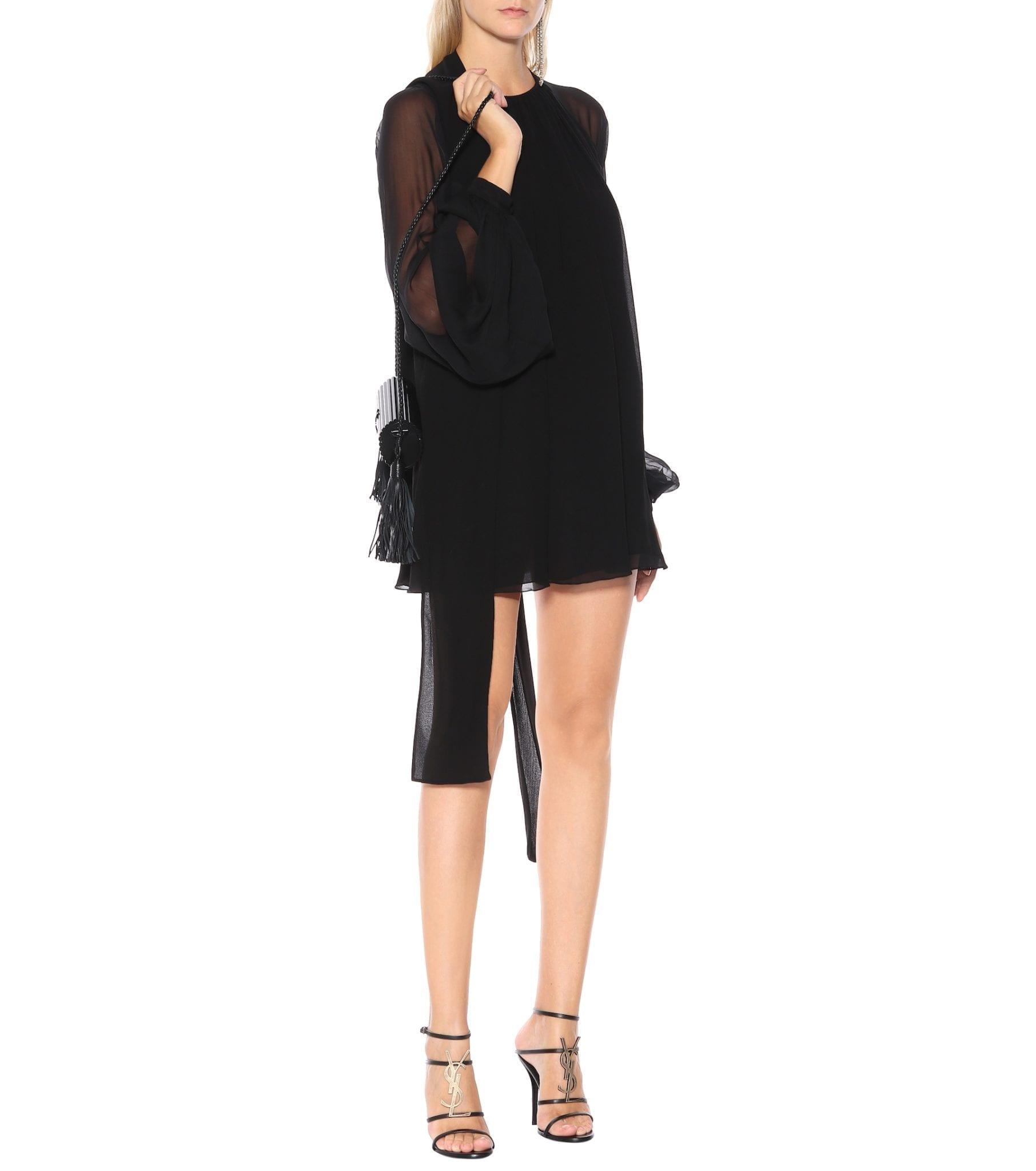 SAINT LAURENT Silk Mini Black Dress
