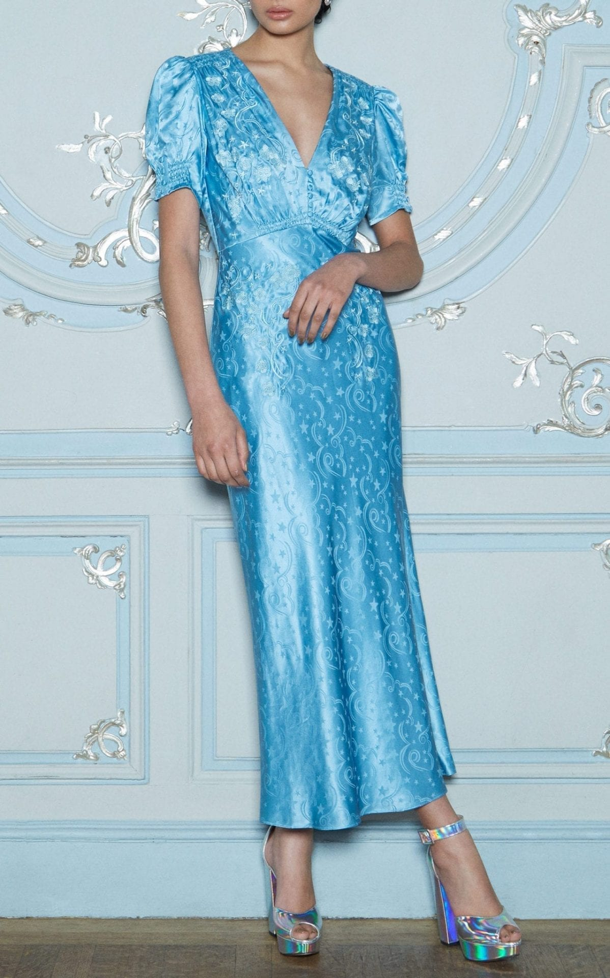 SALONI Lea Silk-Satin Jacquard Maxi Blue Dress