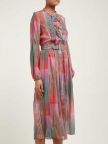 SALONI Raquel Checked Silk Crepe De Chine Midi Dress