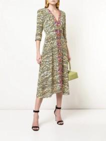 SALONI Tiger Print Flared Multicolor Dress
