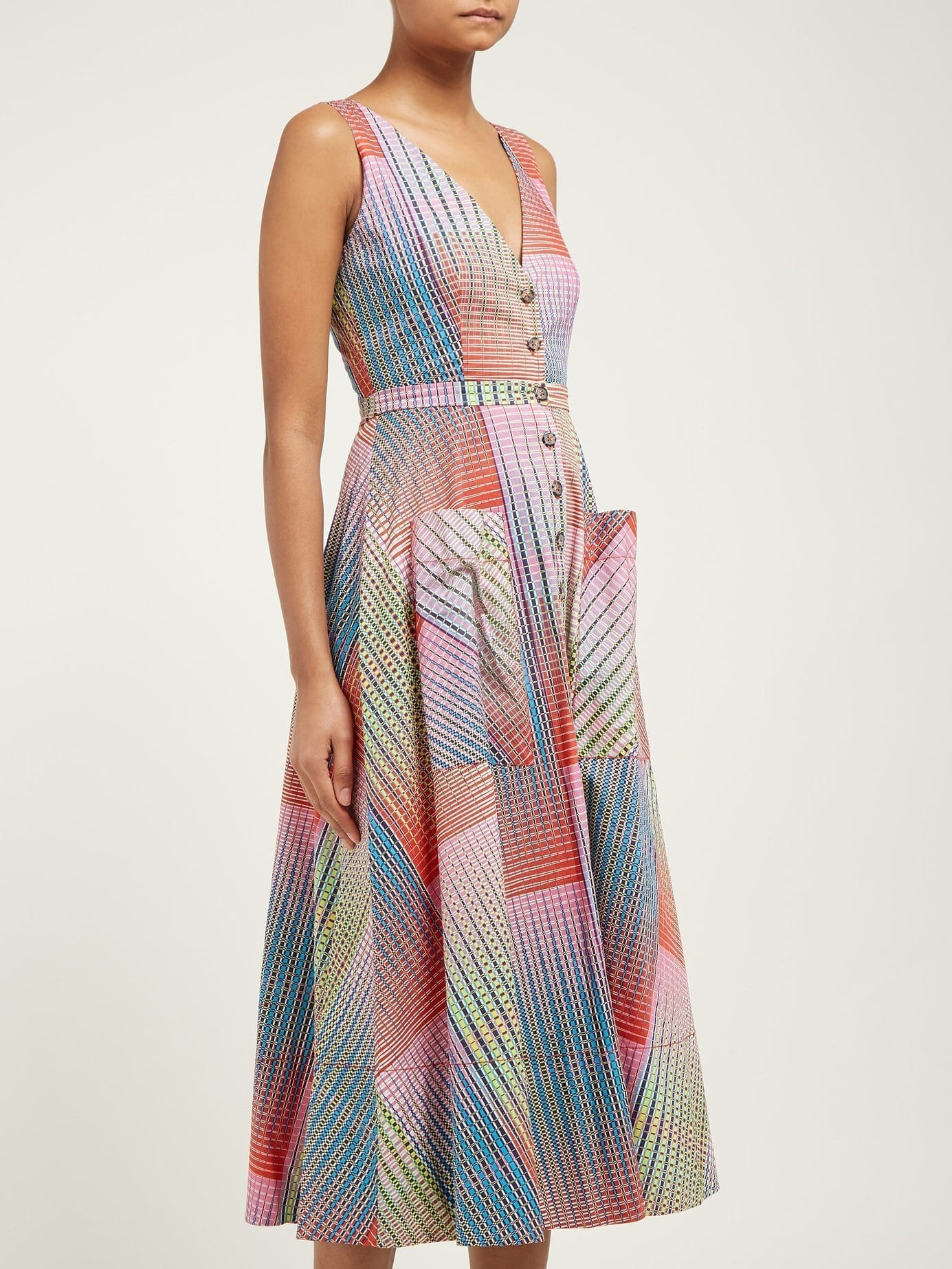 SALONI Zoey Geometric-Print Panelled Cotton Midi Dress