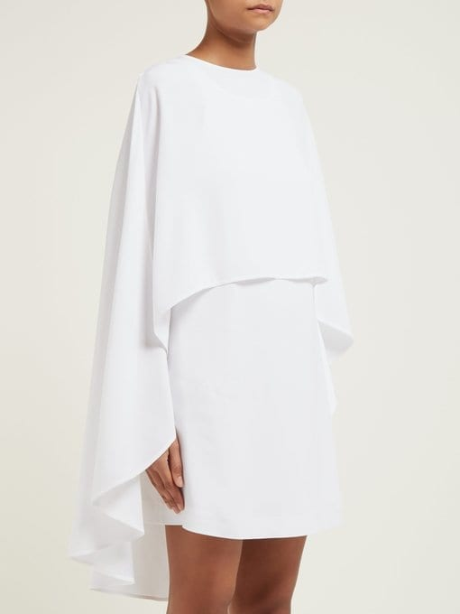 SARA BATTAGLIA Cape Crepe Mini White Dress