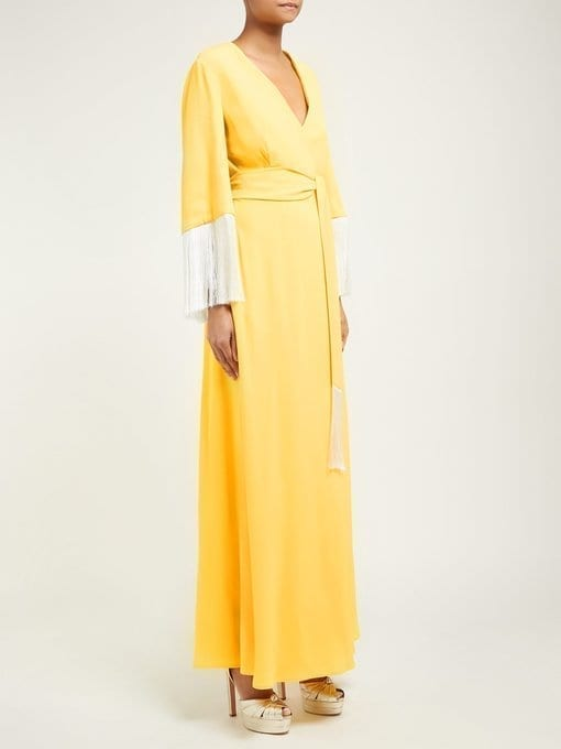 SARA BATTAGLIA V-Neck Fringed-Sleeve Wrap Yellow Dress