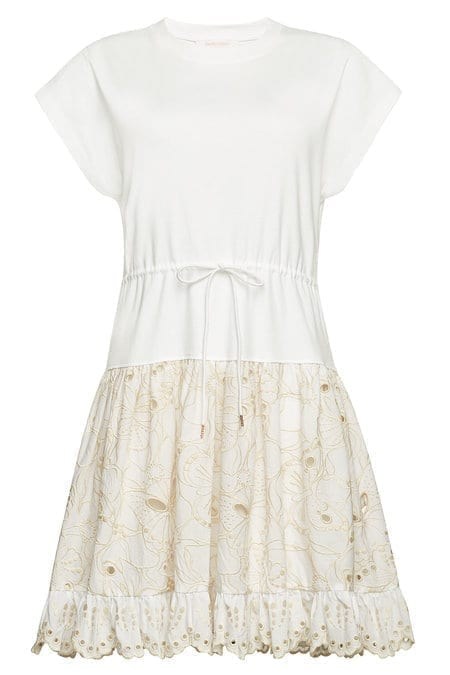 SEE BY CHLOÉ Eyelet Lace Skirt T-Shirt White Dress