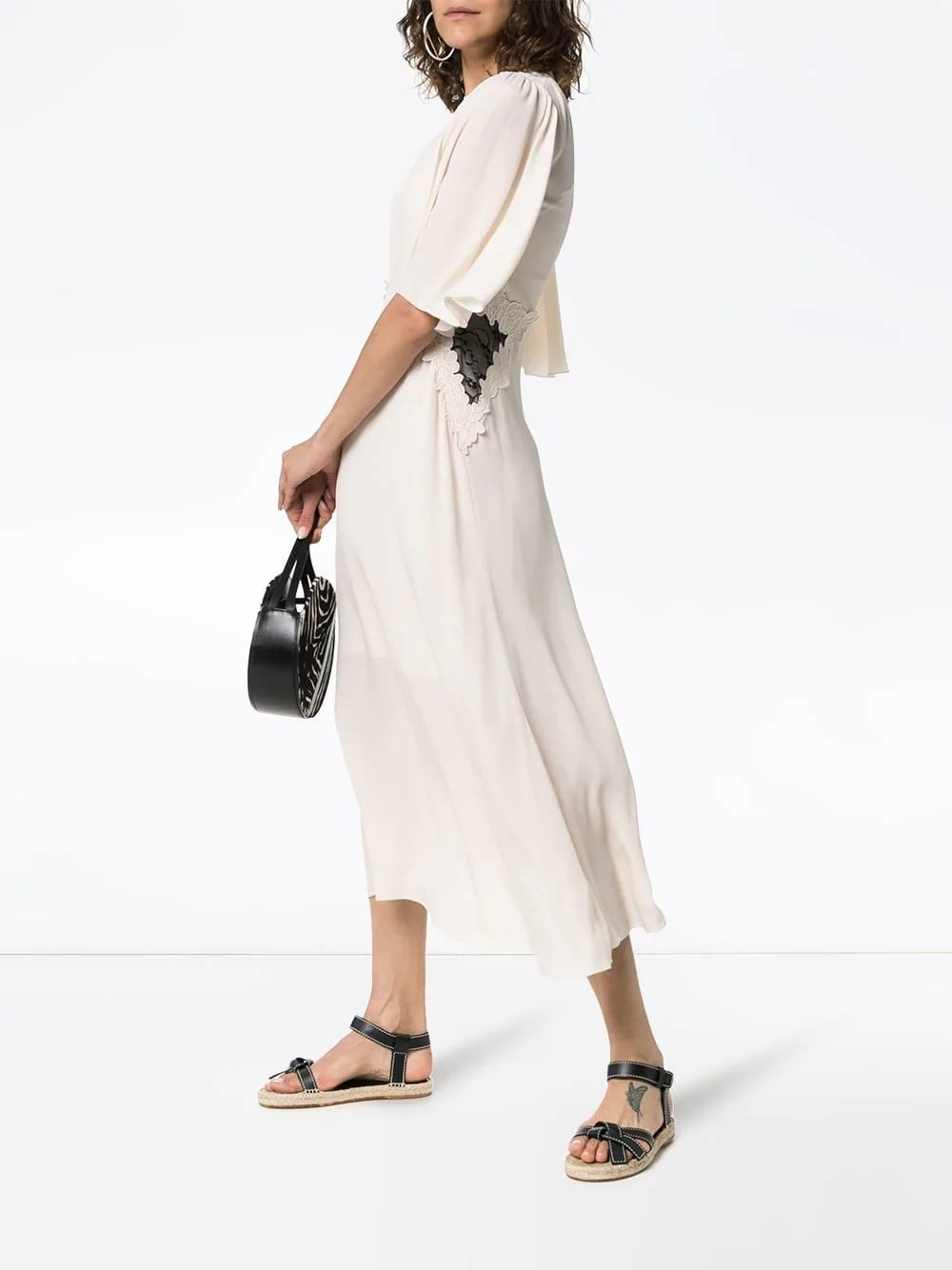 See By ChloÉ Lace Panel Midi White Dress