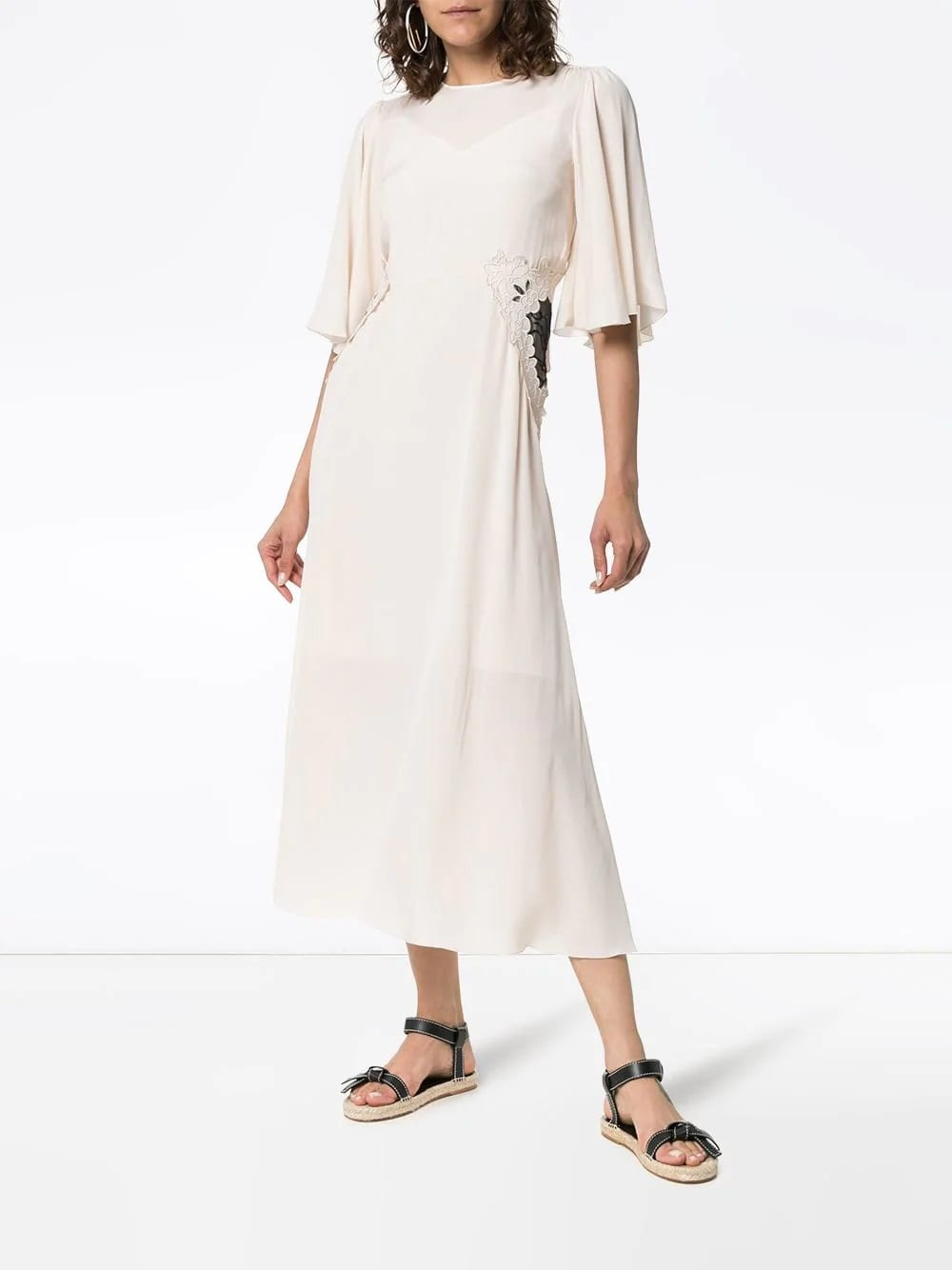 984324984a SEE BY CHLOÉ Lace Panel Midi White Dress - We Select Dresses