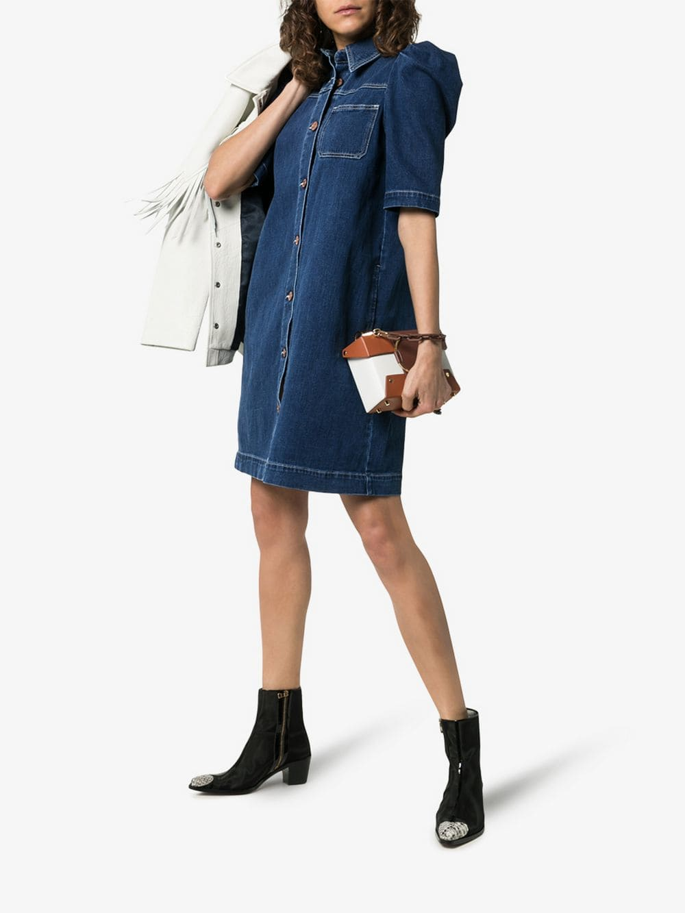 SEE BY CHLOÉ Puff Sleeve Button-down Denim Mini Blue Dress