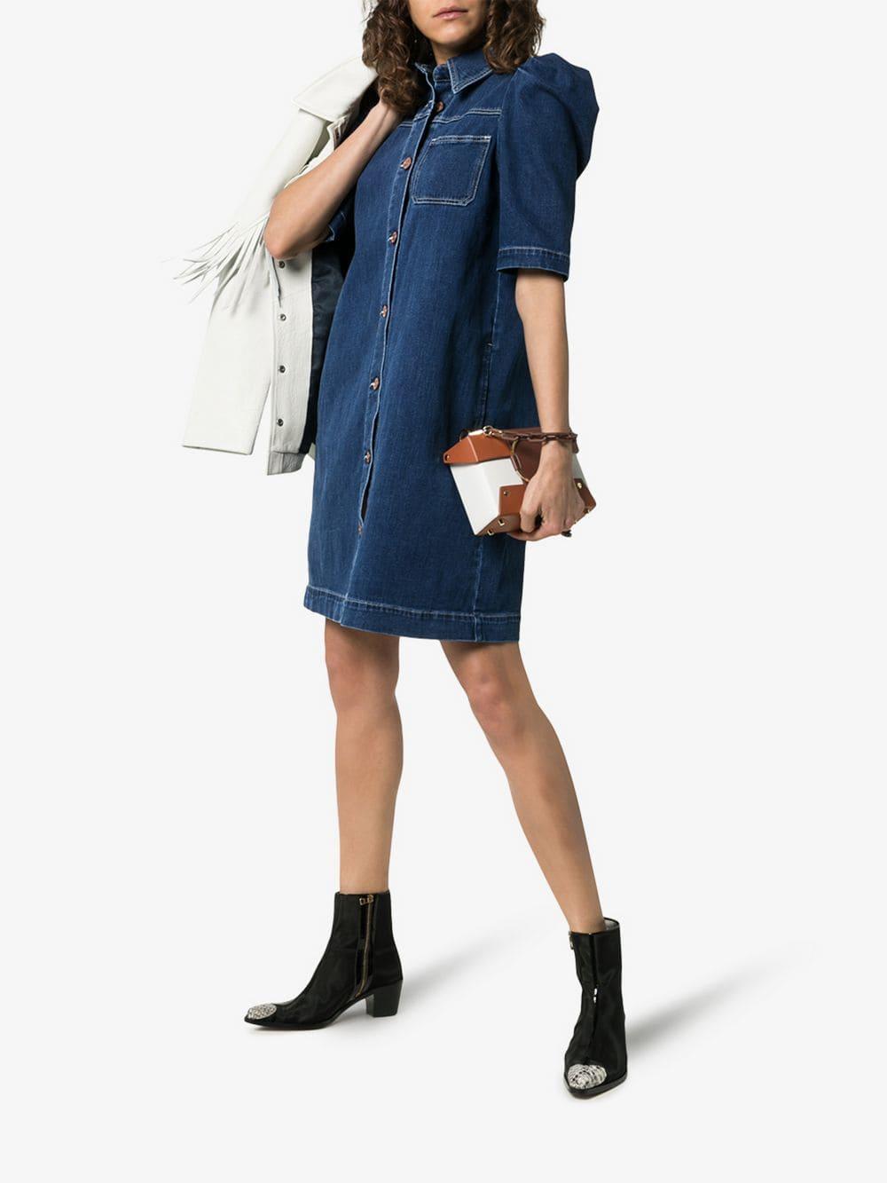 51e70c1f SEE BY CHLOÉ Puff Sleeve Button-down Denim Mini Blue Dress - We ...