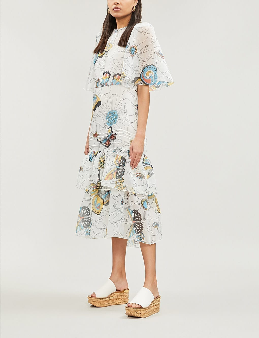 SEE BY CHLOE Butterfly-Print Voile Midi White Dress