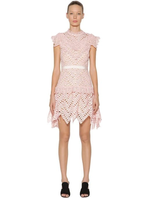 1a2360f85973 SELF-PORTRAIT Abstract Triangle Lace Mini Pink Dress - We Select Dresses