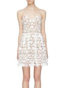 SELF-PORTRAIT 'Azaela' Floral Lace Mini White Dress