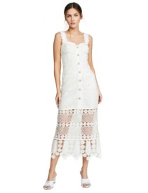 SELF PORTRAIT Fishnet Crochet Lace Midi Ivory Dress