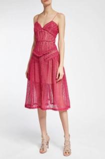 SELF-PORTRAIT Lace Midi Pink Dress