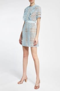 SELF-PORTRAIT Lace Mini Blue Dress