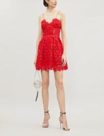 SELF-PORTRAIT Mini Azaelea Guipure Lace Bright Red Dress