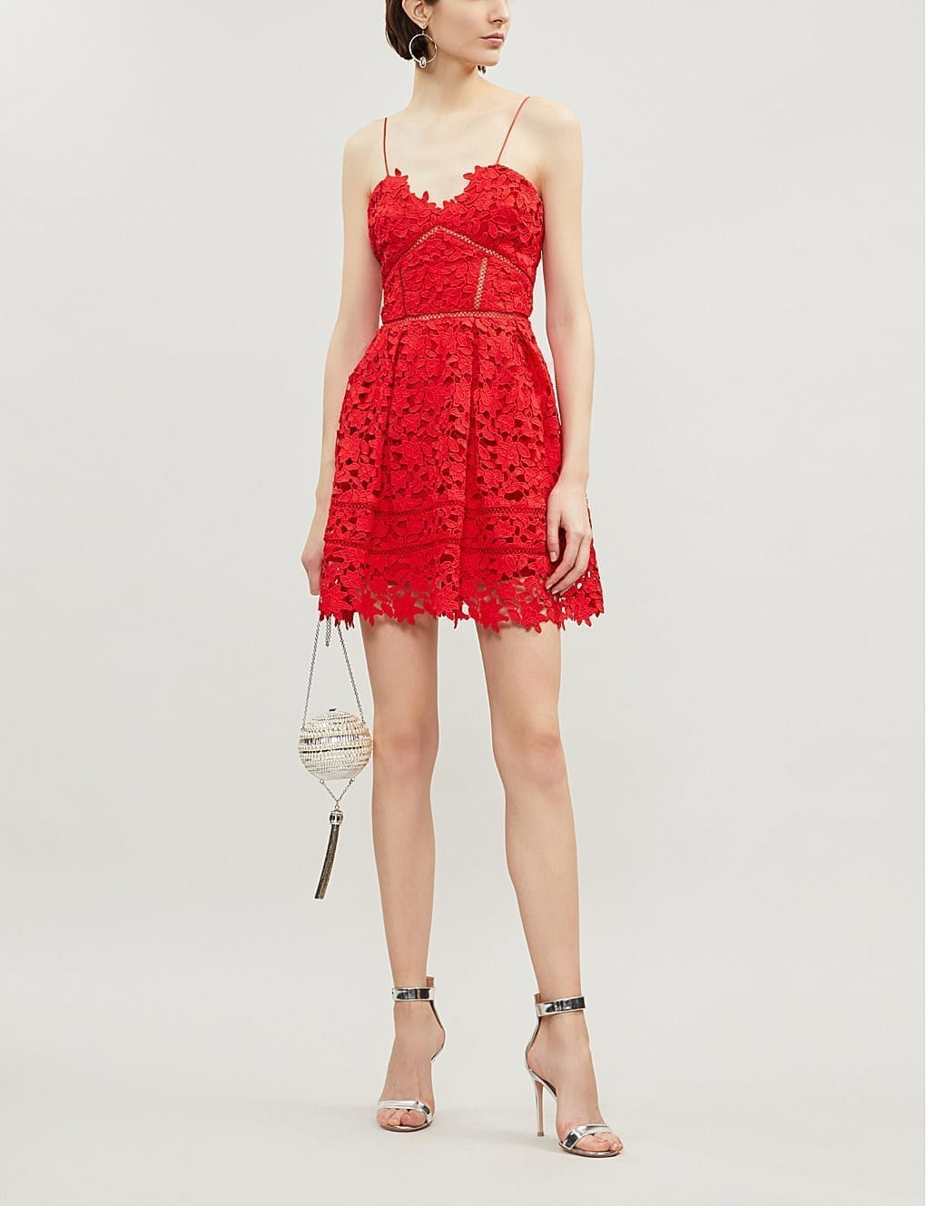40a55c01a1e4 SELF-PORTRAIT Mini Azaelea Guipure Lace Bright Red Dress - We Select ...